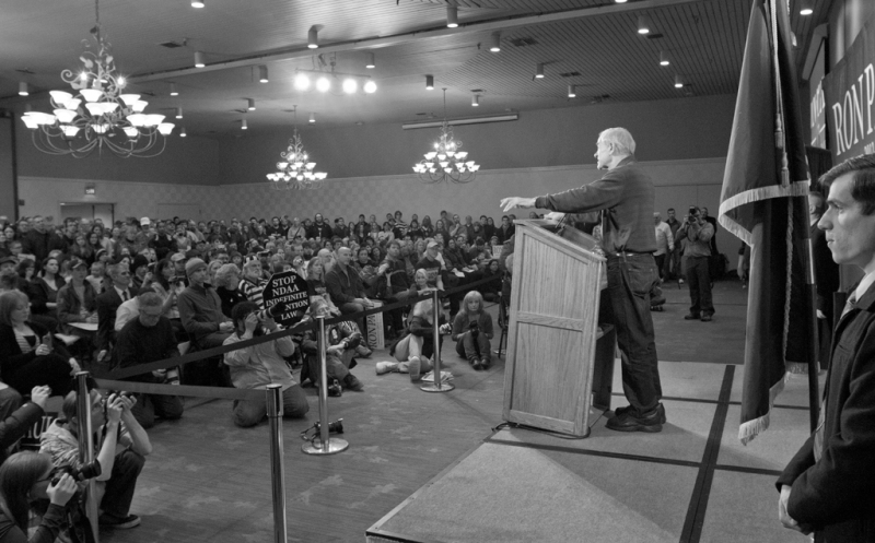 Ron Paul speeks to a full crowd at the Westmark Goldroom