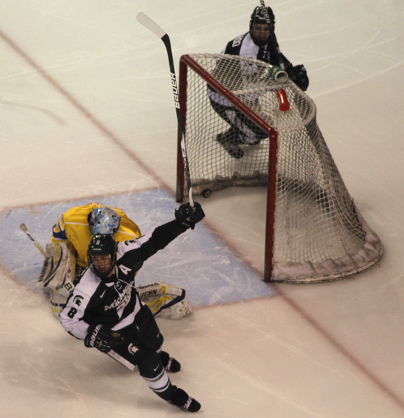 UAF goalie John Keeney hangs his head after MSU scores their 4th, and ultimately game-winning goal.
