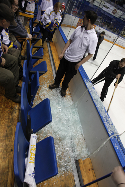 Broken glass created a lengthy game delay in the second period.