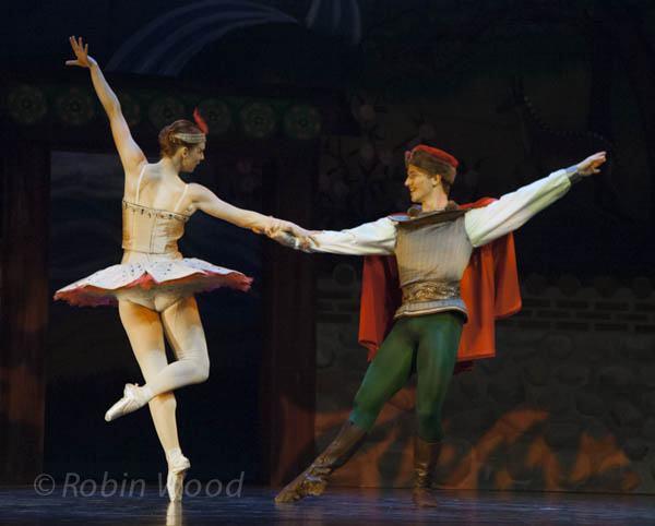 The Firebird and Prince Ivan dance together in the forest.