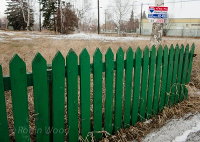 Green Fence with for-sale sign, May 3, 2013.