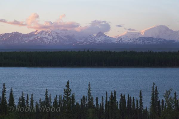Alpenglow highlights mountains along the Richardson Highway,11:10 p.m., June 11, 2013.