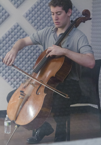 Patrick Hopkins concentrates on the music.