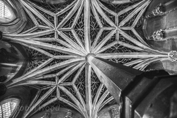 A ceiling in the Cluny Museum in black a white. July 8, 2013.