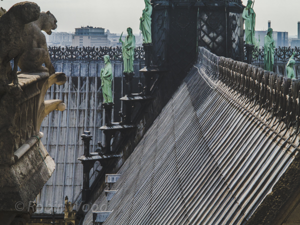 The roof of Notre Dame Cathedral and apostle statues, July 10, 2013.