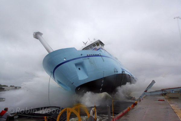 Research Vessel Sikuliaq gets its first taste of the water, Marinette, Wis.