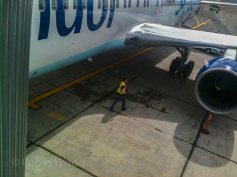 Worker on the tarmac.