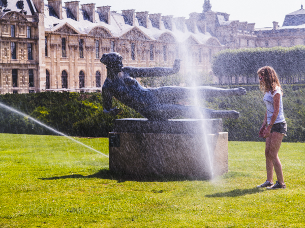 Statues, sprinklers and fun in the sun.