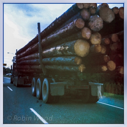 Getting passed by one of many logging trucks on the Alaskan-Canada highway.