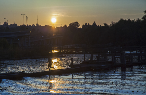 Taking a sunset run on the docks at the arboretum.