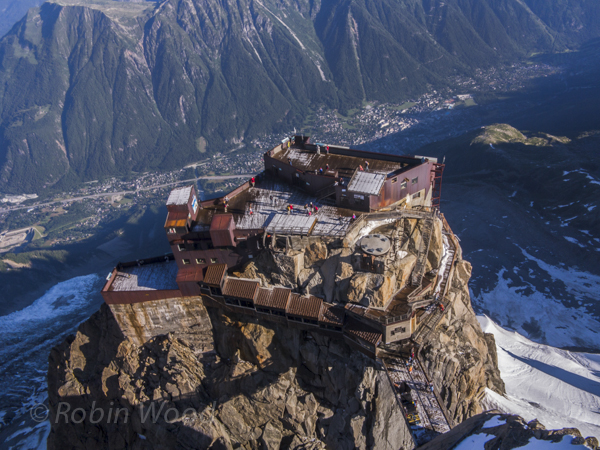 The first viewing platform seen from the highest point -  the town of Chamonix nearly invisible in the background.