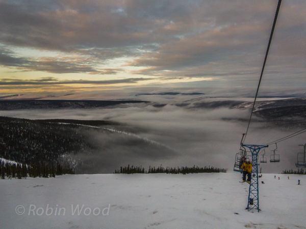 With one hour left to snowboard, at 1:48 p.m., the sun had broken some clouds - revealing spectacular scenery.