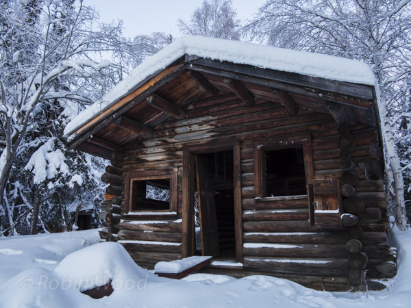 Closeup of an old cabin.