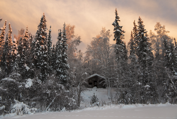 An old cabin at sunset just north of Fairbanks Alaska, Jan. 2, 2014