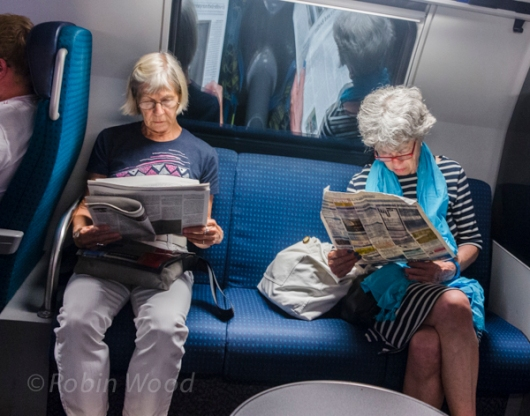 A good time to catch up on the news of the day is the evening train.