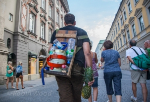 Party goer with a pineapple.