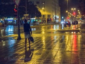 Street lights reflected after rain, Munich, Aug. 3, 2013.