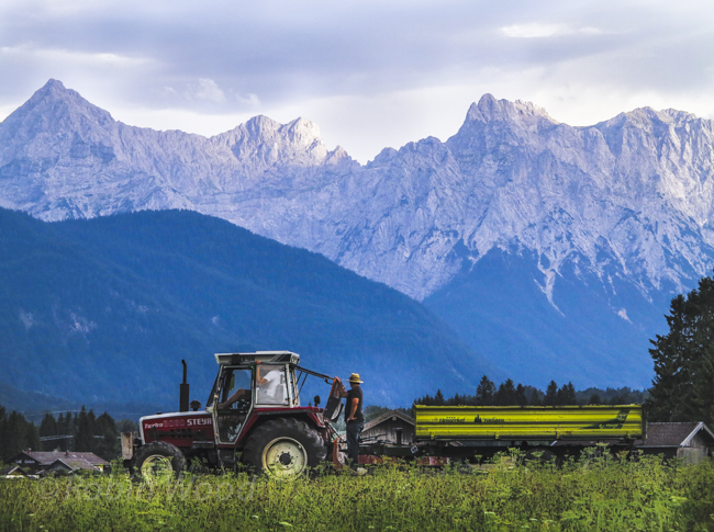 Farmers enjoy mountain views at sunset while driving a tractor.