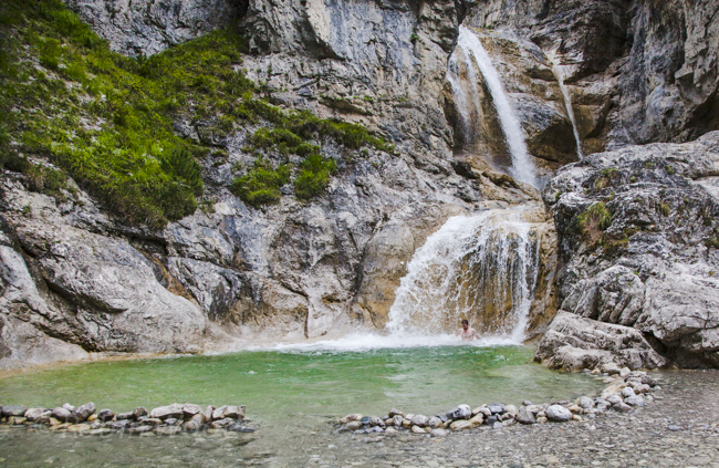 A natural shower and a swimming pool to play in outside near the village of Mittenwald, Bavaria.