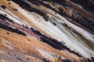 Abstract detail shot of colorful rocks.