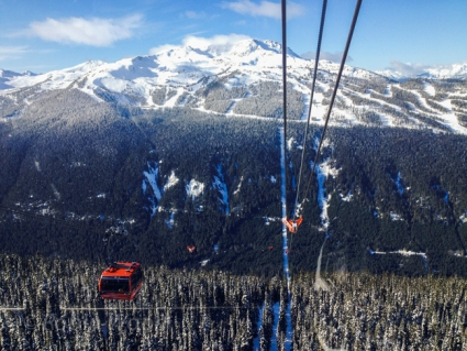 Looking towards Whistler Mountain at the start of the more than 2-mile long Peak 2 Peak.
