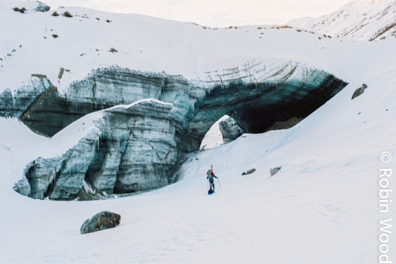 Approaching an ice cave on the Caster Glacier, even simple Alaska scenery's stunning.