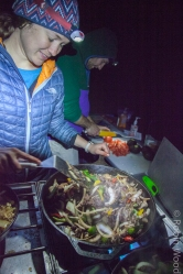 Headlamps were used to cook nearly every meal during the long winter nights.
